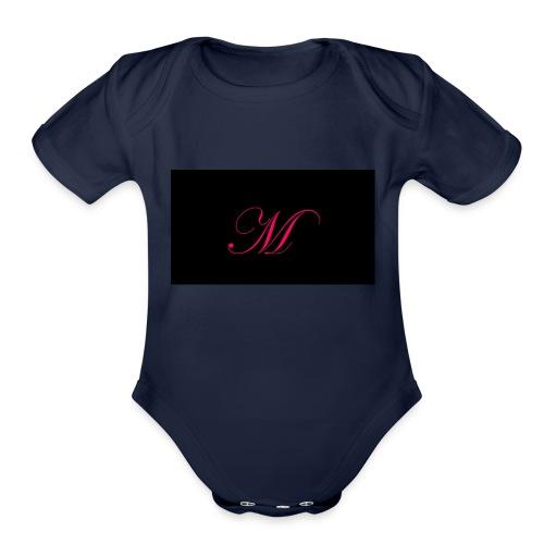 EDWARDIAN M MONOGRAM - Organic Short Sleeve Baby Bodysuit