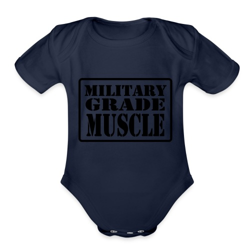 Military Grade Muscle Black - Organic Short Sleeve Baby Bodysuit
