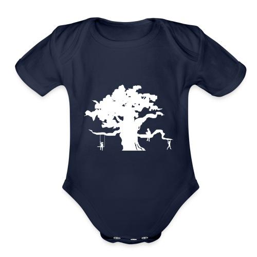 Oak Tree with children playing - Organic Short Sleeve Baby Bodysuit