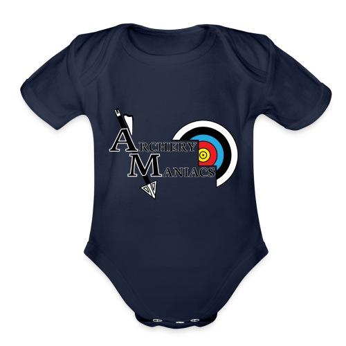 Archery Maniacs White Outline - Organic Short Sleeve Baby Bodysuit