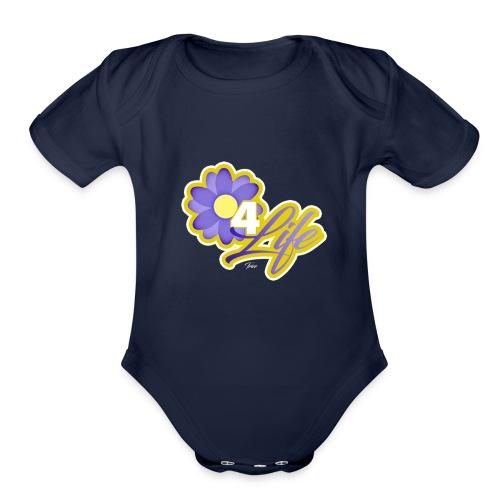 purp flowersss - Organic Short Sleeve Baby Bodysuit