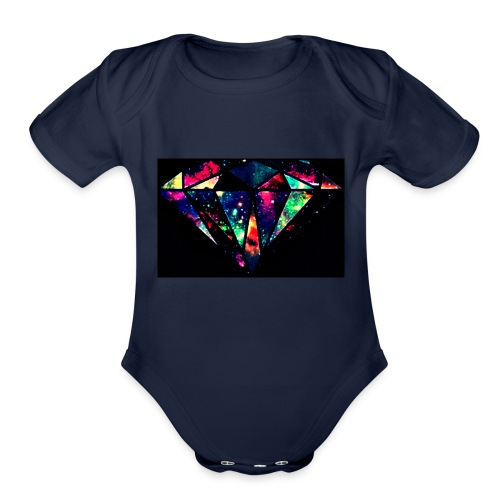diamond-7 - Organic Short Sleeve Baby Bodysuit