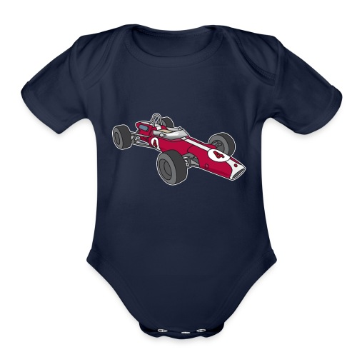 Red racing car, racecar, sportscar - Organic Short Sleeve Baby Bodysuit