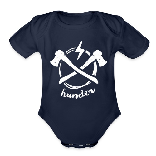 woodchipper back - Organic Short Sleeve Baby Bodysuit