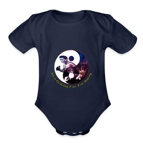 Muhammad ali, Bruce lee,In a galaxy far, far Away - Organic Short Sleeve Baby Bodysuit