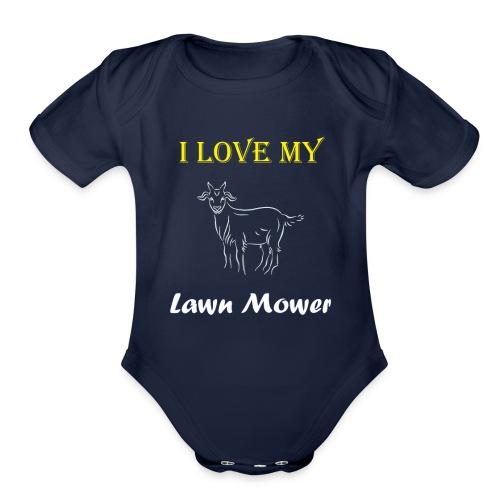 I Love my Lawn Mower Goat Tee - Organic Short Sleeve Baby Bodysuit