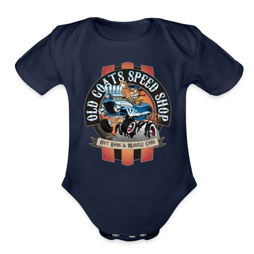 Old Goats Speed Shop Vintage Car Sign Cartoon - Organic Short Sleeve Baby Bodysuit