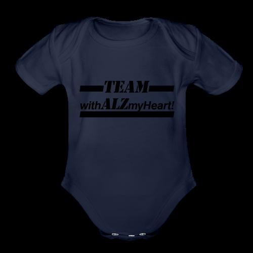 Team withALZmyHeart Logo Wear - Organic Short Sleeve Baby Bodysuit