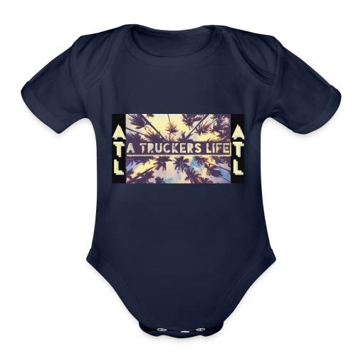 A Truckers Life Logo - Organic Short Sleeve Baby Bodysuit
