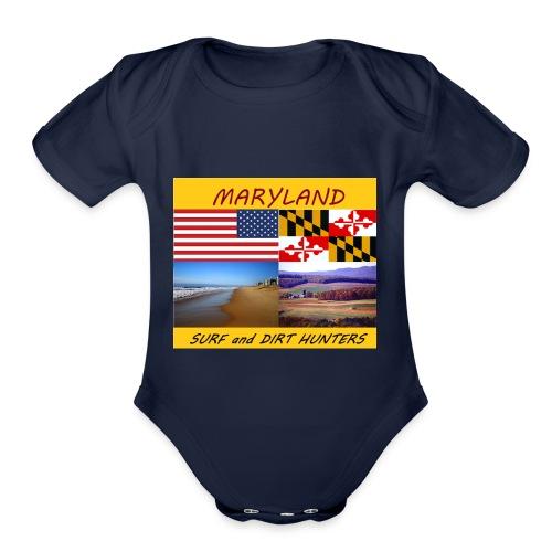 MARYLAND SURF AND DIRT HUNTERS group LOGO LARGE - Organic Short Sleeve Baby Bodysuit