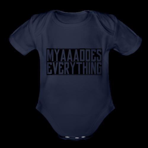 MyaaaDoesEverything (Black) - Organic Short Sleeve Baby Bodysuit