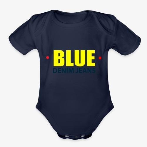 Blue blue jeans Official logo - Organic Short Sleeve Baby Bodysuit