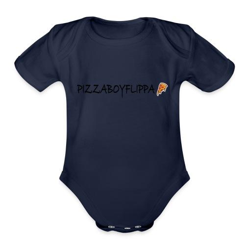 PizzaBoyFlippa - Black - Organic Short Sleeve Baby Bodysuit