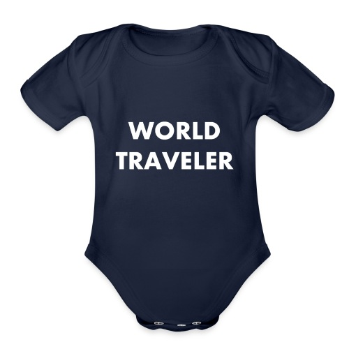 World Traveler White Letters - Organic Short Sleeve Baby Bodysuit