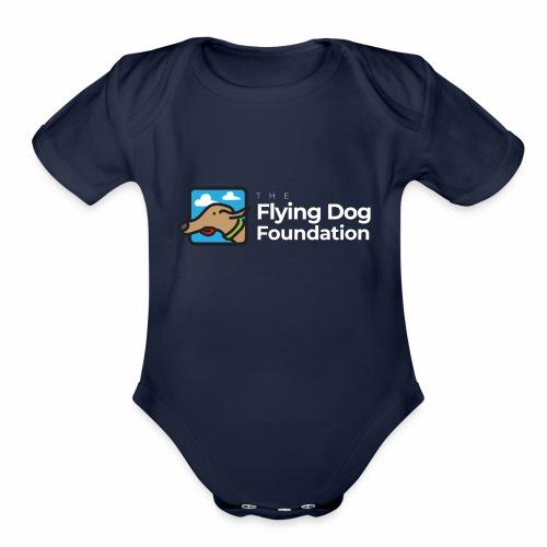 The Flying Dog Foundation Logo - White Font - Organic Short Sleeve Baby Bodysuit