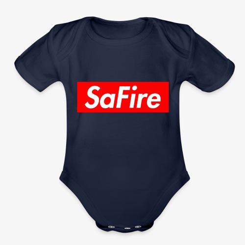 SaFire box logo tee - Organic Short Sleeve Baby Bodysuit