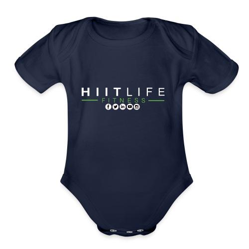 hlfsocialwht - Organic Short Sleeve Baby Bodysuit