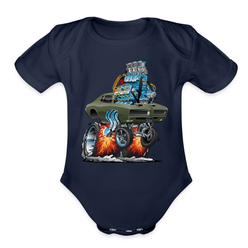 Classic American Muscle Car Hot Rod Cartoon - Organic Short Sleeve Baby Bodysuit