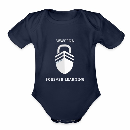 WWCFNA Forever learning white - Organic Short Sleeve Baby Bodysuit