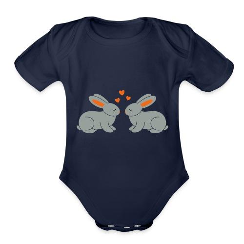 Rabbit Love - Organic Short Sleeve Baby Bodysuit