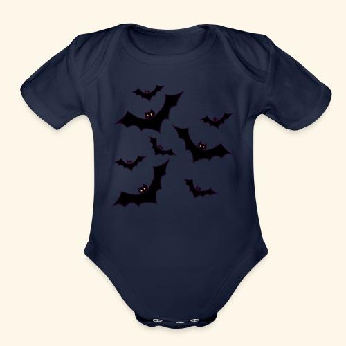 Halloween bats - Organic Short Sleeve Baby Bodysuit