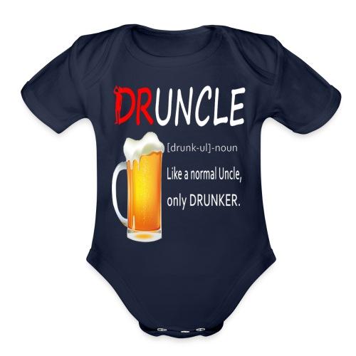 Druncle Beer T shirt Gift For Men - Organic Short Sleeve Baby Bodysuit