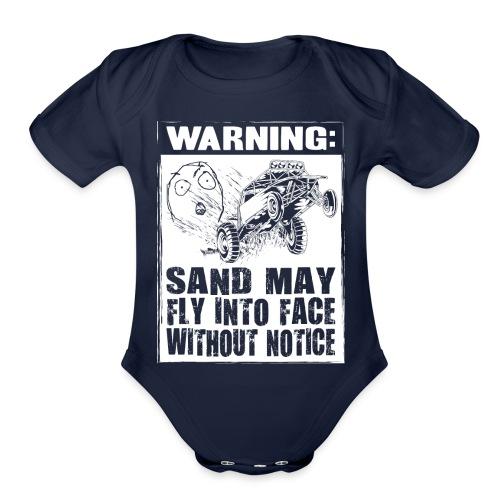 Dune Buggy Sand Warning - Organic Short Sleeve Baby Bodysuit