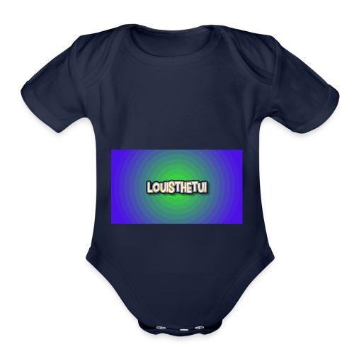 Cartoony Louisthetui Logo - Organic Short Sleeve Baby Bodysuit