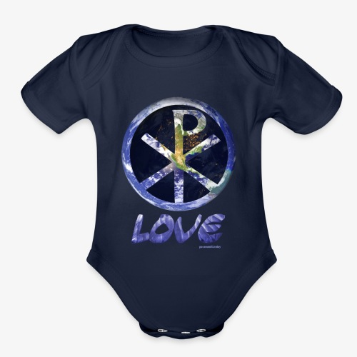 paxmundi space city lights love - Organic Short Sleeve Baby Bodysuit