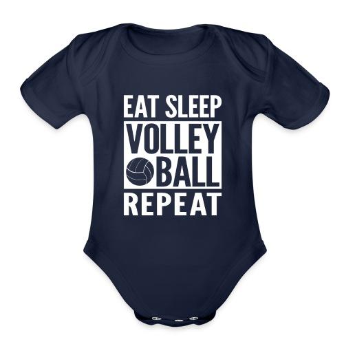 Eat Sleep Volleyball Repeat - Organic Short Sleeve Baby Bodysuit