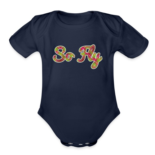 So Fly Pink and Green Plaid - Organic Short Sleeve Baby Bodysuit