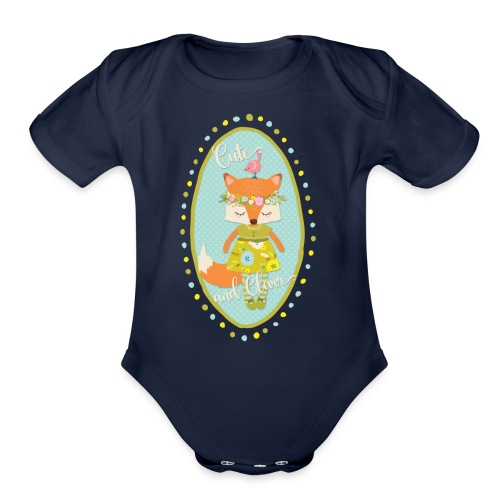 Cute and Clever Fox - Organic Short Sleeve Baby Bodysuit