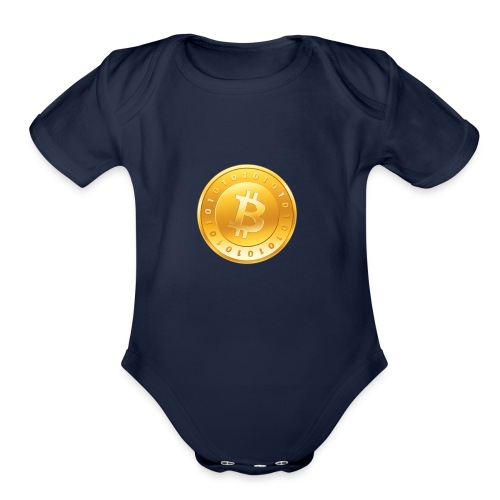Bitcoin Coin Logo - Organic Short Sleeve Baby Bodysuit