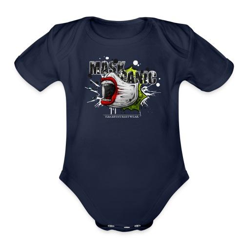 mask panic - Organic Short Sleeve Baby Bodysuit