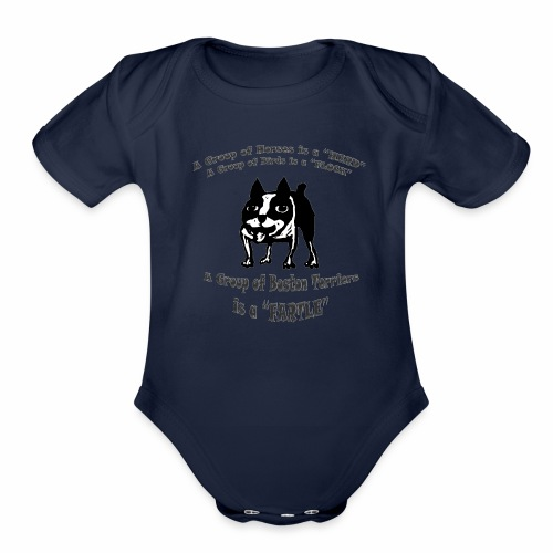 Boston Terrier Fartle - Gray - Organic Short Sleeve Baby Bodysuit