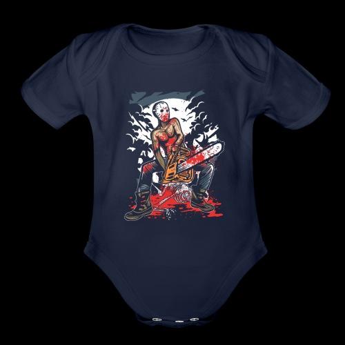 Halloween Chainsaw Killer - Organic Short Sleeve Baby Bodysuit