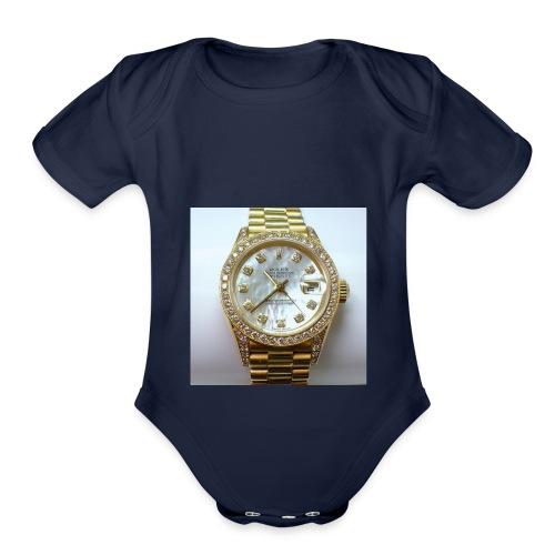 rolex all day - Organic Short Sleeve Baby Bodysuit
