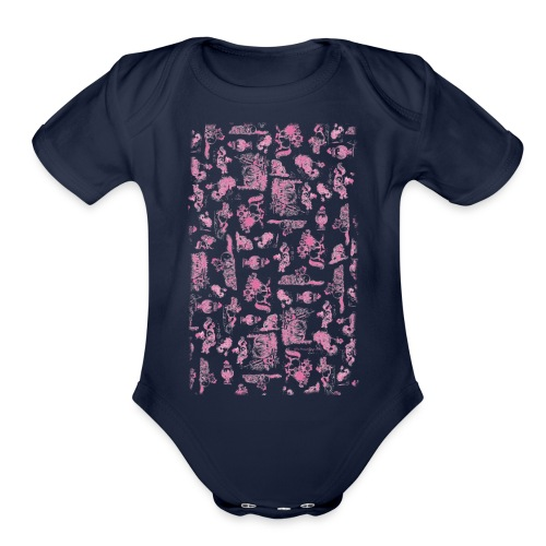 PonyCartoons Pink Thelwell Cartoon - Organic Short Sleeve Baby Bodysuit