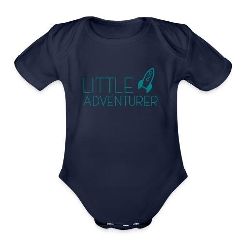 Little Adventurer Rocket t-shirt - Organic Short Sleeve Baby Bodysuit