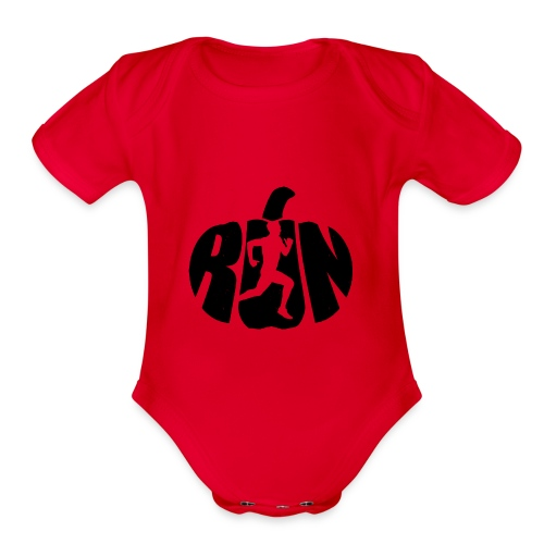 Halloween Running Pumpkin - Organic Short Sleeve Baby Bodysuit