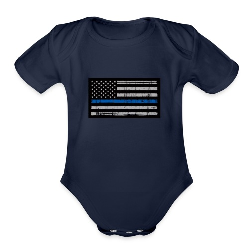 I stand behind the men in blue - Organic Short Sleeve Baby Bodysuit