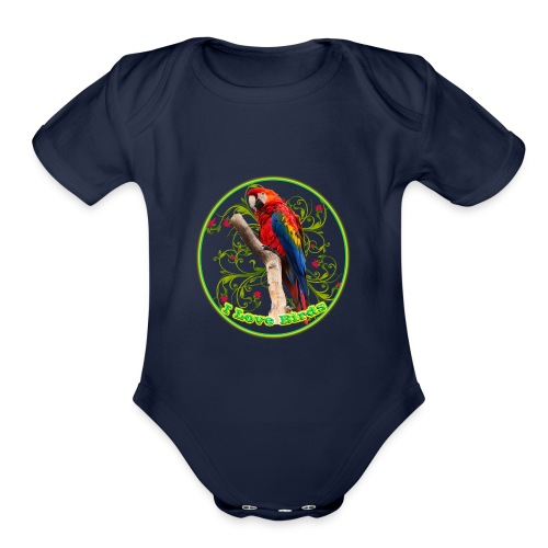 I Love Birds - Cool - Organic Short Sleeve Baby Bodysuit