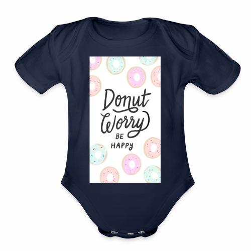 DONUT WORDY BE HAPPY - Organic Short Sleeve Baby Bodysuit