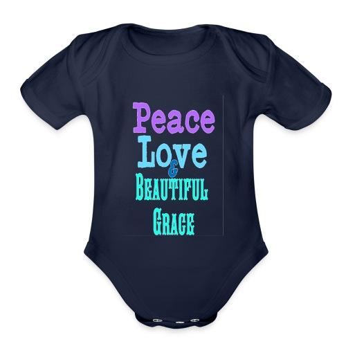 Peace, Love and Grace - Organic Short Sleeve Baby Bodysuit