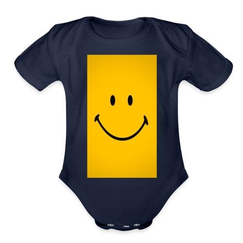 Smiley face - Organic Short Sleeve Baby Bodysuit
