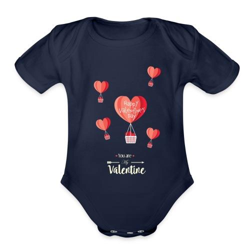 Happy Valentines Day - Organic Short Sleeve Baby Bodysuit