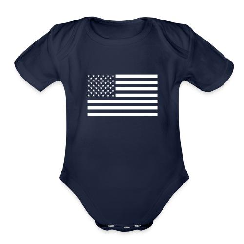 USA American Flag - Organic Short Sleeve Baby Bodysuit