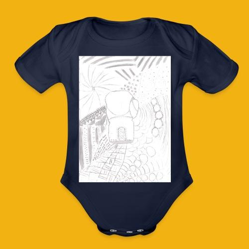 Messy Zentangle Boxing glove (TCOU) - Organic Short Sleeve Baby Bodysuit