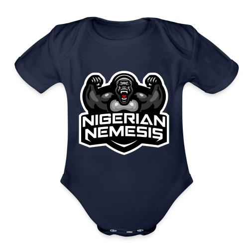 Nigerian Nemesis Gorilla Roar - Organic Short Sleeve Baby Bodysuit