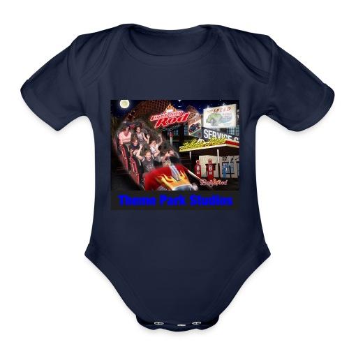 Themeparkstudios on lightning rod and lr pin - Organic Short Sleeve Baby Bodysuit